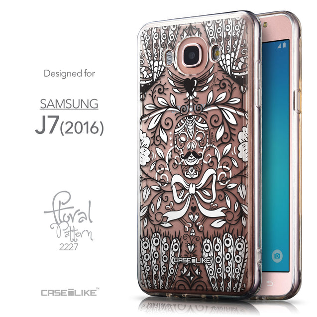 Front & Side View - CASEiLIKE Samsung Galaxy J7 (2016) back cover Roses Ornamental Skulls Peacocks 2227
