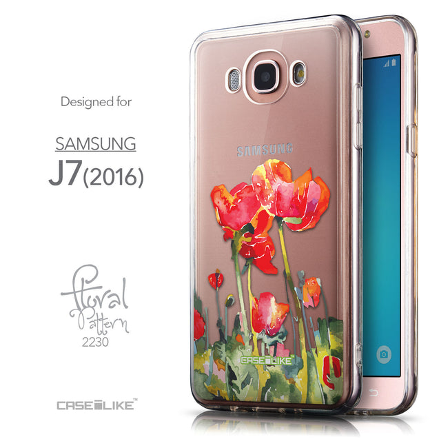 Front & Side View - CASEiLIKE Samsung Galaxy J7 (2016) back cover Watercolor Floral 2230
