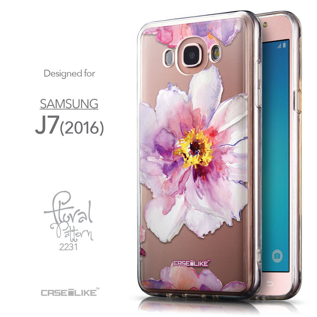 Front & Side View - CASEiLIKE Samsung Galaxy J7 (2016) back cover Watercolor Floral 2231