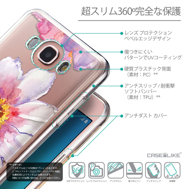 Details in Japanese - CASEiLIKE Samsung Galaxy J7 (2016) back cover Watercolor Floral 2231