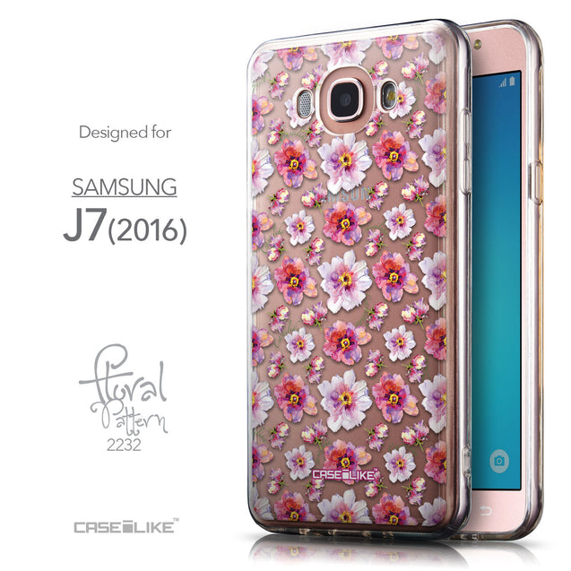 Front & Side View - CASEiLIKE Samsung Galaxy J7 (2016) back cover Watercolor Floral 2232