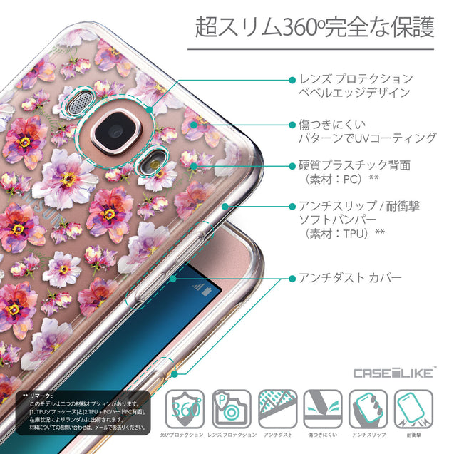 Details in Japanese - CASEiLIKE Samsung Galaxy J7 (2016) back cover Watercolor Floral 2232