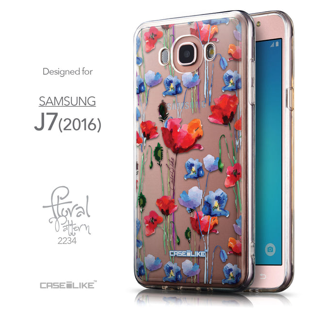 Front & Side View - CASEiLIKE Samsung Galaxy J7 (2016) back cover Indian Line Art 2061