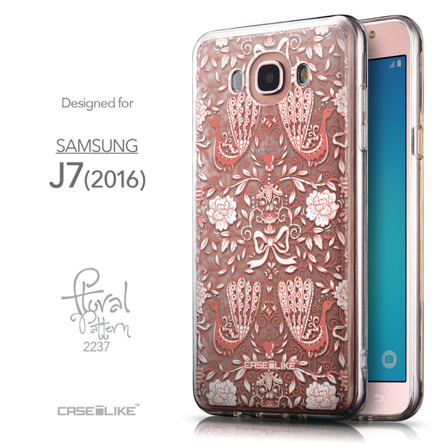Front & Side View - CASEiLIKE Samsung Galaxy J7 (2016) back cover Roses Ornamental Skulls Peacocks 2237