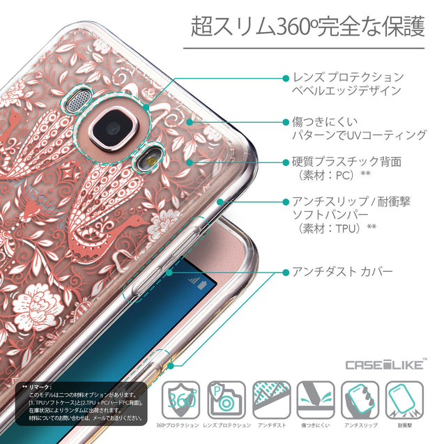 Details in Japanese - CASEiLIKE Samsung Galaxy J7 (2016) back cover Roses Ornamental Skulls Peacocks 2237