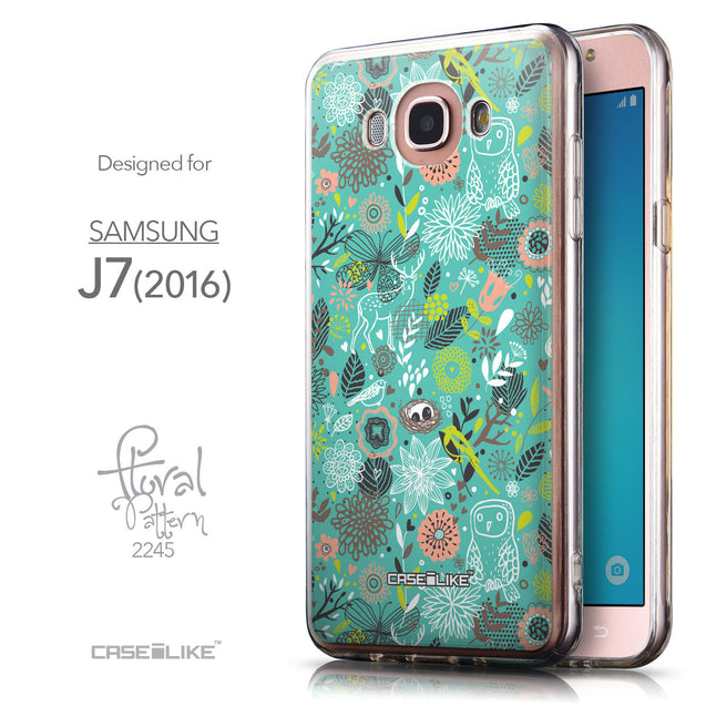 Front & Side View - CASEiLIKE Samsung Galaxy J7 (2016) back cover Spring Forest Turquoise 2245
