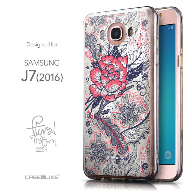 Front & Side View - CASEiLIKE Samsung Galaxy J7 (2016) back cover Vintage Roses and Feathers Beige 2251