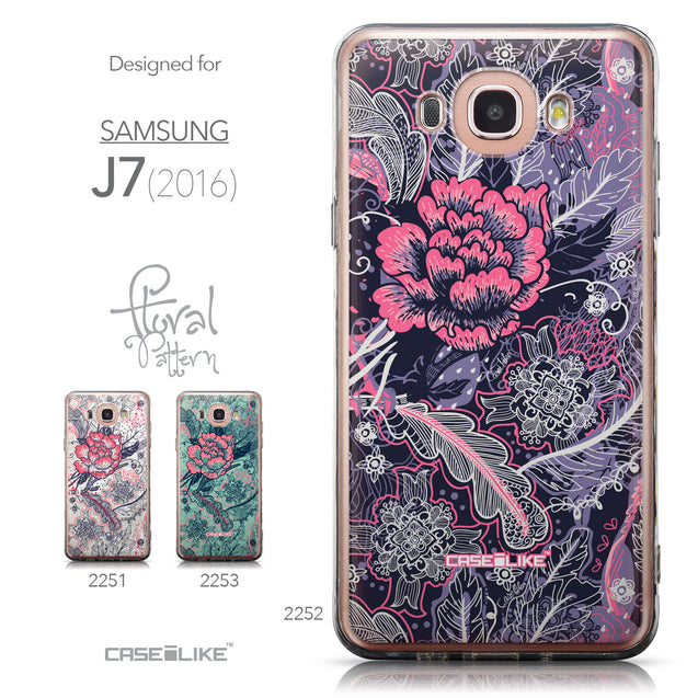 Collection - CASEiLIKE Samsung Galaxy J7 (2016) back cover Vintage Roses and Feathers Blue 2252