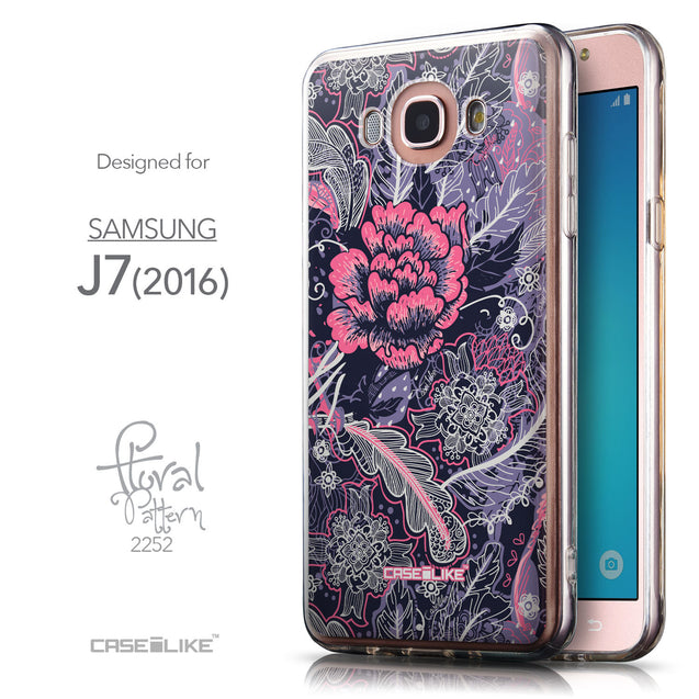 Front & Side View - CASEiLIKE Samsung Galaxy J7 (2016) back cover Vintage Roses and Feathers Blue 2252