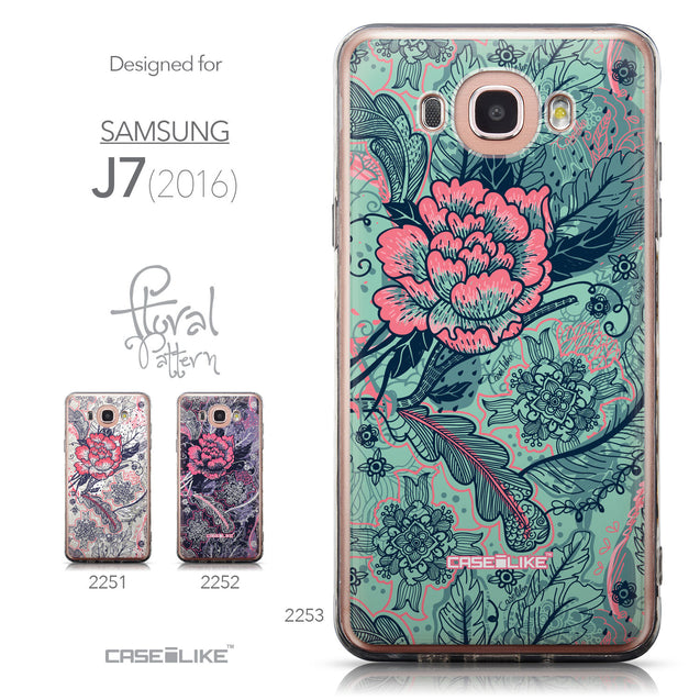 Collection - CASEiLIKE Samsung Galaxy J7 (2016) back cover Vintage Roses and Feathers Turquoise 2253