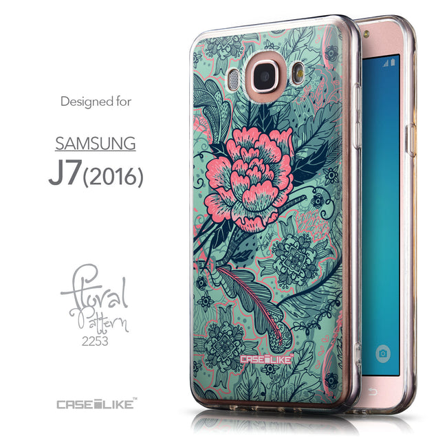 Front & Side View - CASEiLIKE Samsung Galaxy J7 (2016) back cover Vintage Roses and Feathers Turquoise 2253