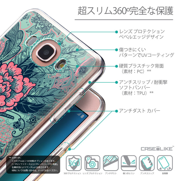 Details in Japanese - CASEiLIKE Samsung Galaxy J7 (2016) back cover Vintage Roses and Feathers Turquoise 2253