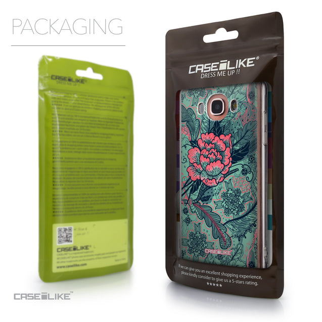 Packaging - CASEiLIKE Samsung Galaxy J7 (2016) back cover Vintage Roses and Feathers Turquoise 2253