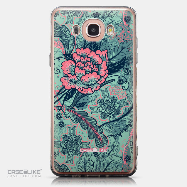 CASEiLIKE Samsung Galaxy J7 (2016) back cover Vintage Roses and Feathers Turquoise 2253
