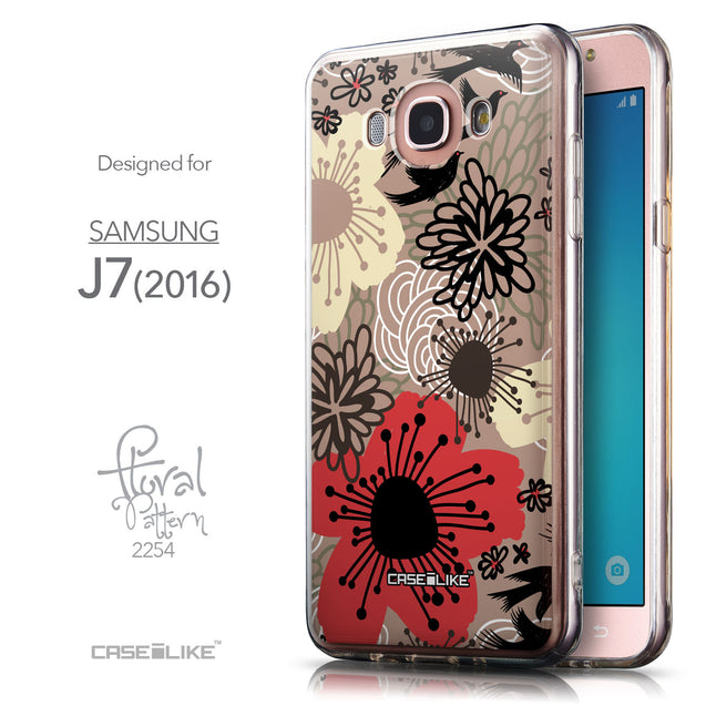 Front & Side View - CASEiLIKE Samsung Galaxy J7 (2016) back cover Japanese Floral 2254