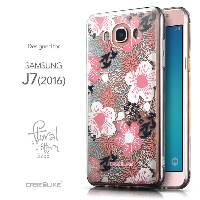 Front & Side View - CASEiLIKE Samsung Galaxy J7 (2016) back cover Japanese Floral 2255