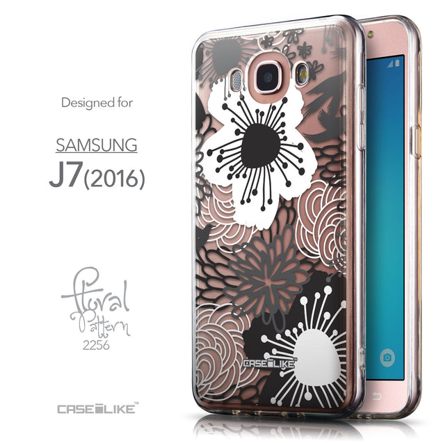 Front & Side View - CASEiLIKE Samsung Galaxy J7 (2016) back cover Japanese Floral 2256