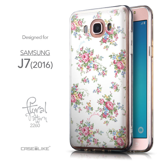 Front & Side View - CASEiLIKE Samsung Galaxy J7 (2016) back cover Floral Rose Classic 2260