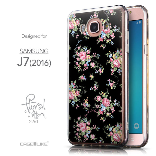 Front & Side View - CASEiLIKE Samsung Galaxy J7 (2016) back cover Floral Rose Classic 2261