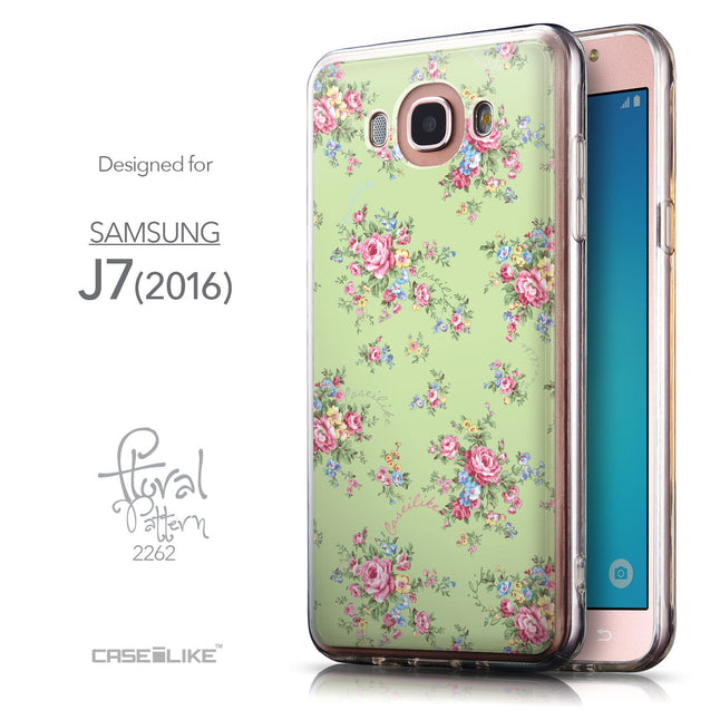 Front & Side View - CASEiLIKE Samsung Galaxy J7 (2016) back cover Floral Rose Classic 2262