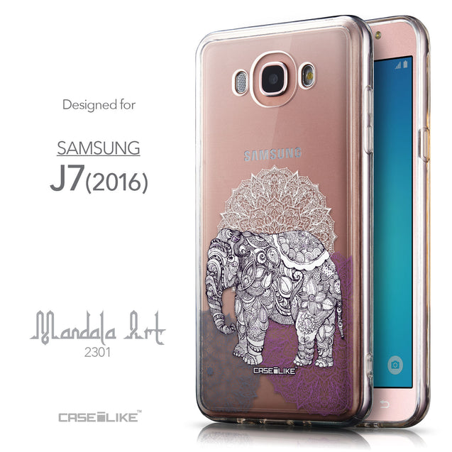 Front & Side View - CASEiLIKE Samsung Galaxy J7 (2016) back cover Mandala Art 2301