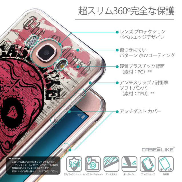 Details in Japanese - CASEiLIKE Samsung Galaxy J7 (2016) back cover Art of Skull 2523