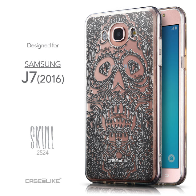 Front & Side View - CASEiLIKE Samsung Galaxy J7 (2016) back cover Art of Skull 2524
