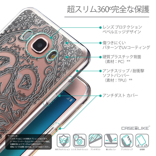 Details in Japanese - CASEiLIKE Samsung Galaxy J7 (2016) back cover Art of Skull 2524