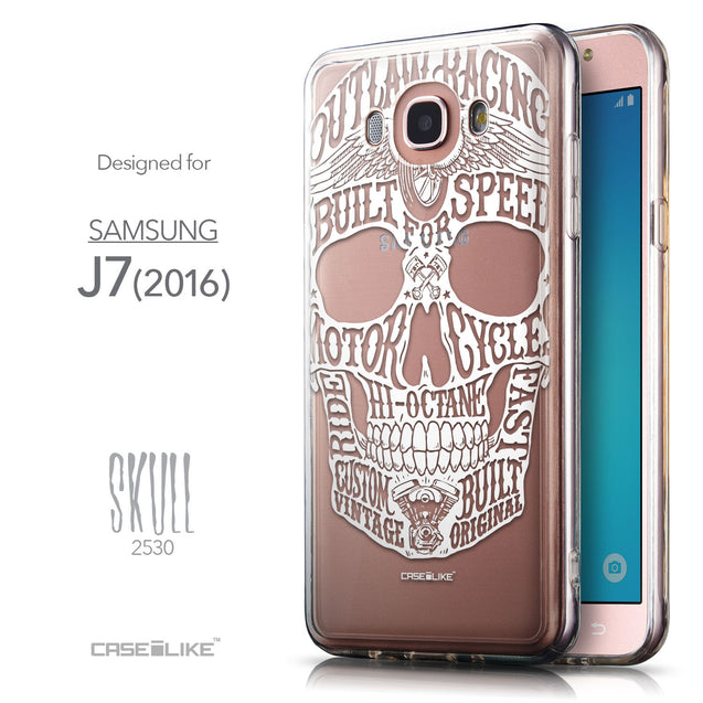 Front & Side View - CASEiLIKE Samsung Galaxy J7 (2016) back cover Art of Skull 2530