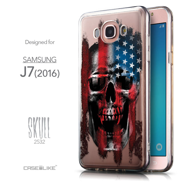 Front & Side View - CASEiLIKE Samsung Galaxy J7 (2016) back cover Art of Skull 2532