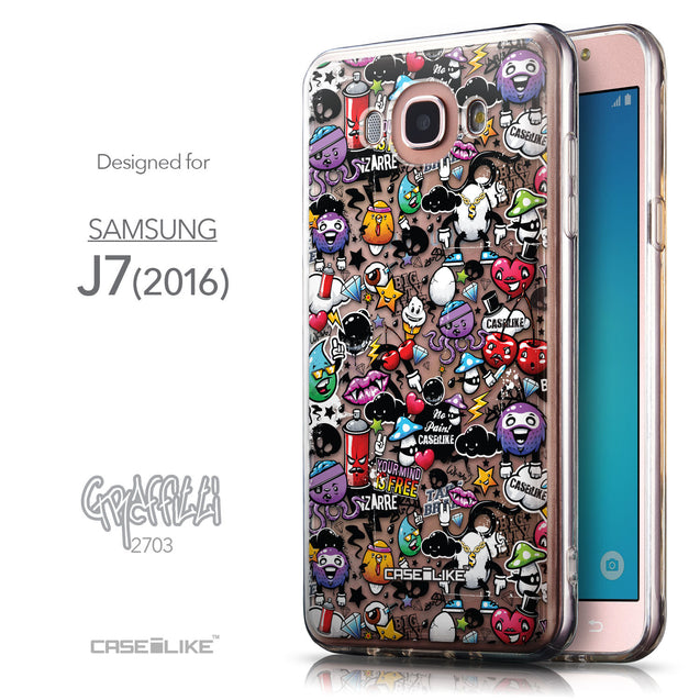 Front & Side View - CASEiLIKE Samsung Galaxy J7 (2016) back cover Graffiti 2703