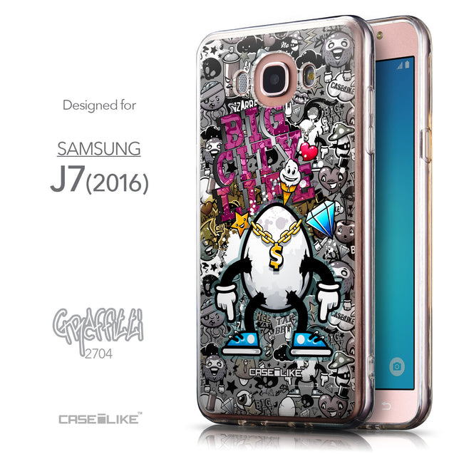 Front & Side View - CASEiLIKE Samsung Galaxy J7 (2016) back cover Graffiti 2704