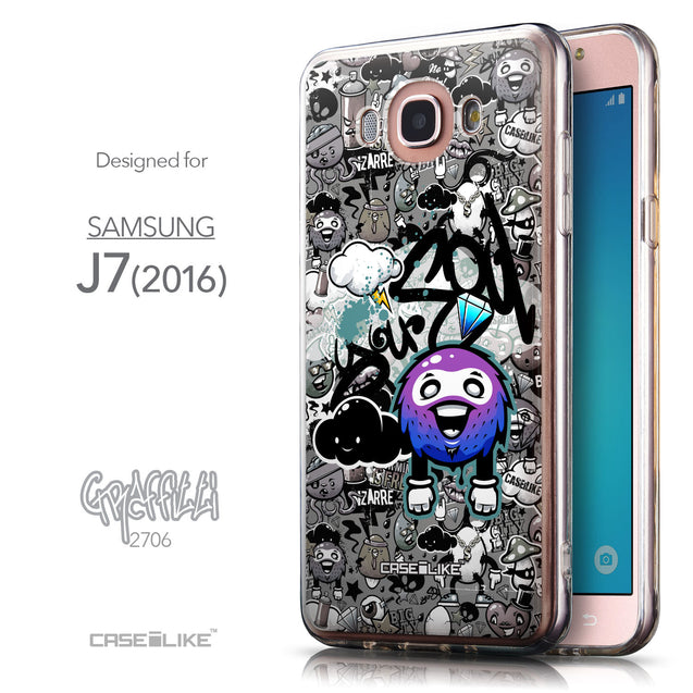 Front & Side View - CASEiLIKE Samsung Galaxy J7 (2016) back cover Graffiti 2706