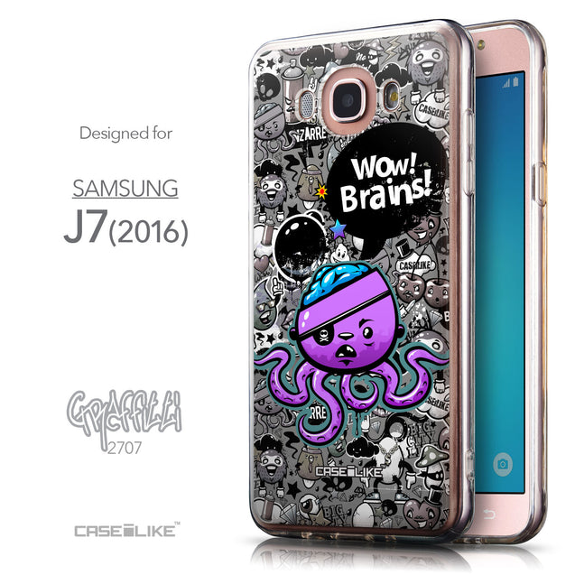 Front & Side View - CASEiLIKE Samsung Galaxy J7 (2016) back cover Graffiti 2707