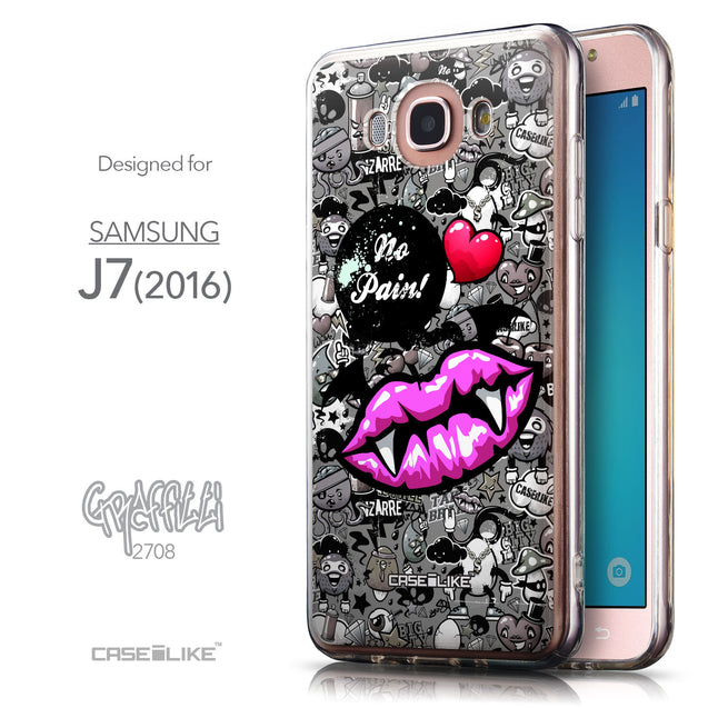 Front & Side View - CASEiLIKE Samsung Galaxy J7 (2016) back cover Graffiti 2708