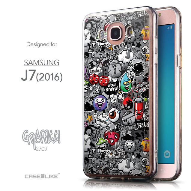 Front & Side View - CASEiLIKE Samsung Galaxy J7 (2016) back cover Graffiti 2709