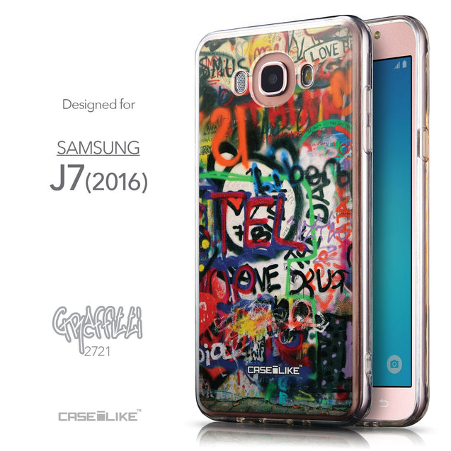 Front & Side View - CASEiLIKE Samsung Galaxy J7 (2016) back cover Graffiti 2721