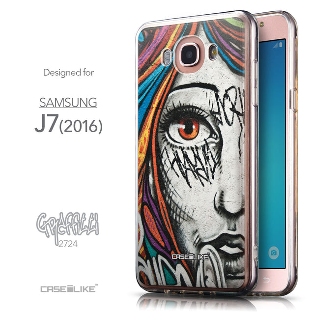 Front & Side View - CASEiLIKE Samsung Galaxy J7 (2016) back cover Graffiti Girl 2724