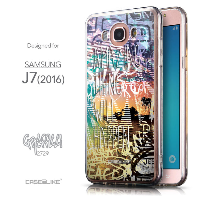 Front & Side View - CASEiLIKE Samsung Galaxy J7 (2016) back cover Graffiti 2729