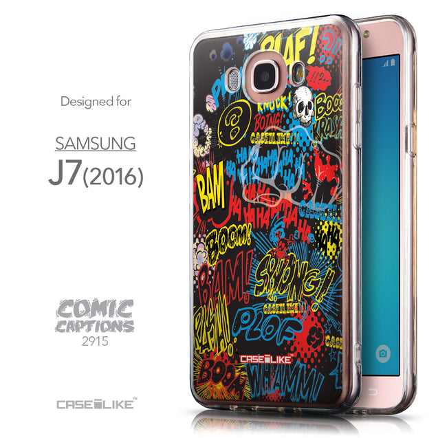 Front & Side View - CASEiLIKE Samsung Galaxy J7 (2016) back cover Comic Captions Black 2915