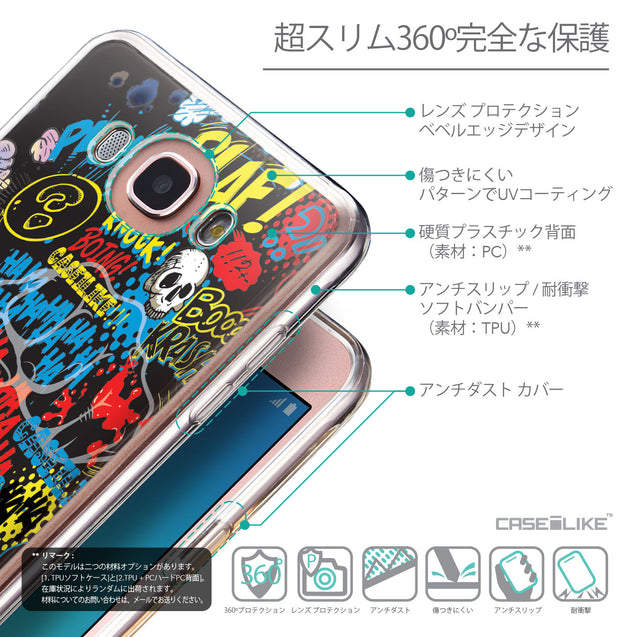 Details in Japanese - CASEiLIKE Samsung Galaxy J7 (2016) back cover Comic Captions Black 2915