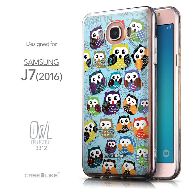 Front & Side View - CASEiLIKE Samsung Galaxy J7 (2016) back cover Owl Graphic Design 3312