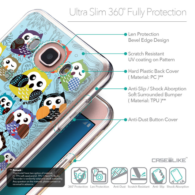 Details in English - CASEiLIKE Samsung Galaxy J7 (2016) back cover Owl Graphic Design 3312