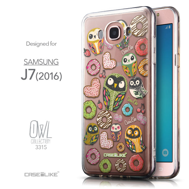 Front & Side View - CASEiLIKE Samsung Galaxy J7 (2016) back cover Owl Graphic Design 3315