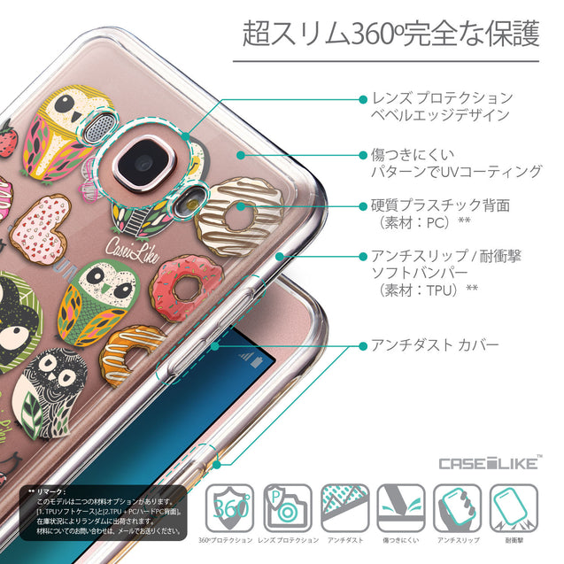 Details in Japanese - CASEiLIKE Samsung Galaxy J7 (2016) back cover Owl Graphic Design 3315