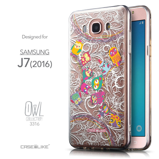 Front & Side View - CASEiLIKE Samsung Galaxy J7 (2016) back cover Owl Graphic Design 3316