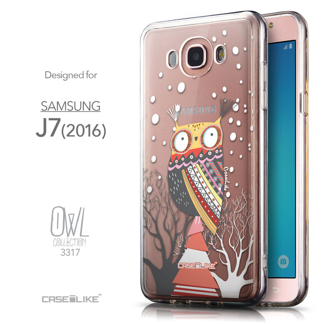 Front & Side View - CASEiLIKE Samsung Galaxy J7 (2016) back cover Owl Graphic Design 3317