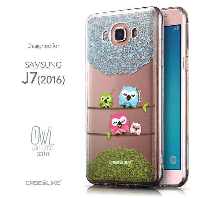 Front & Side View - CASEiLIKE Samsung Galaxy J7 (2016) back cover Owl Graphic Design 3318