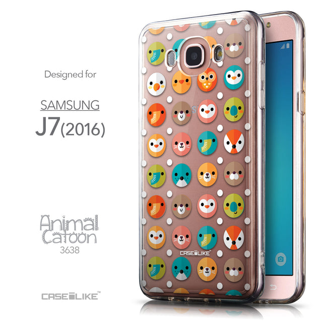 Front & Side View - CASEiLIKE Samsung Galaxy J7 (2016) back cover Animal Cartoon 3638