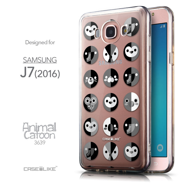 Front & Side View - CASEiLIKE Samsung Galaxy J7 (2016) back cover Animal Cartoon 3639